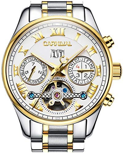 (PASOY Carnival Men's Watch Automatic Tourbillon Stainless Stell Date White Dial Skeleton Analog Watches)