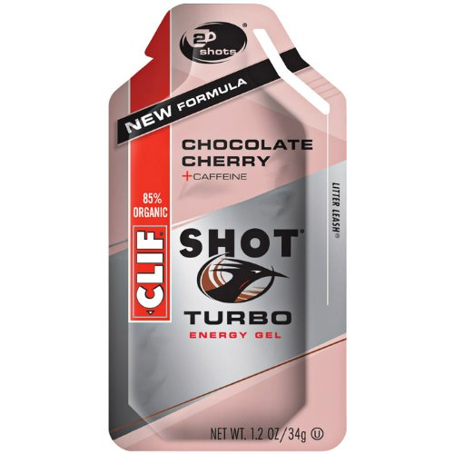 CLIFBAR Food Caffeine Choco Cherry Turbo Gel (Box of 24), 100mg
