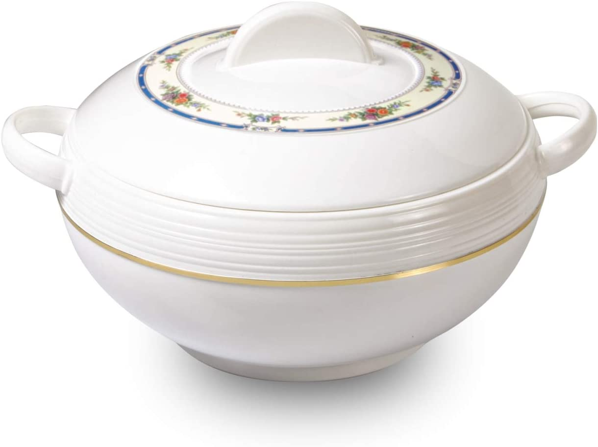 Tmvel Ambiente Insulated Casserole Hot Pot - Insulated Serving Bowl With Lid - Food Warmer - (6000ml, White)