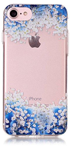 iPhone 8 Case, iPhone 7 Foral Case 4.7inch Clear TPU Silicone Transparent Ultra Thin Soft Back Cover with Embossed Pattern Blue Flowers with Touch-U Phone Stand ( Not Fit iPhone - Canada Clear Crystal Inc Bags