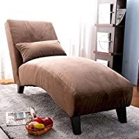 Merax Classic Fabric Chaise Lounge, Sofa Chair Bed, Brown