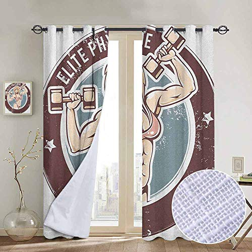 NUOMANAN Customized Curtains Fitness,Retro Style Sexy Lady with Dumbbells Elite Physique Grunge Display, Chocolate Pale Pink Blue,Blackout Thermal Insulated,Grommet Curtain Panel 1 Pair84 x100