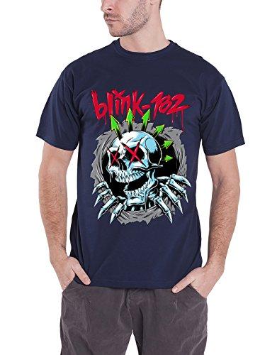 - Blink 182 T Shirt Ripper Chrome Skeleton Face Band Logo Official Mens Blue