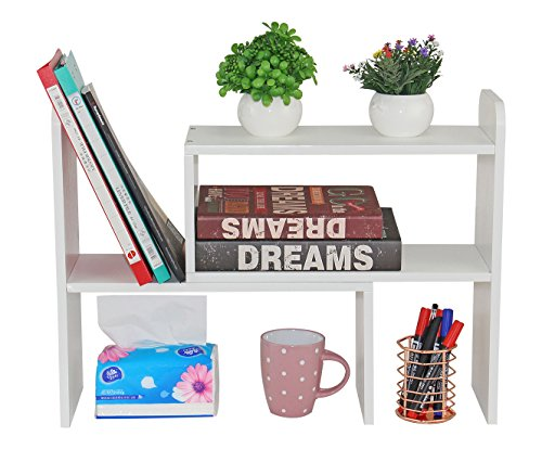 PAG Office Supplies Desk Organizer Adjustable Wood Desktop Bookshelf Countertop Bookcase Accessories Display Rack, Pure (Adjustable Bookcase)