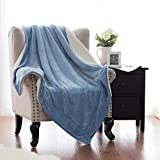 Sherpa Throw Blanket Carolina BlueTwin size 60x80 Bedding Fleece Reversible Blanket for Bed and Couch