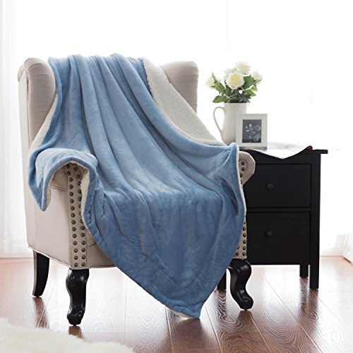 Sherpa Throw Blanket Carolina Blue Throw size 50x60 Bedding