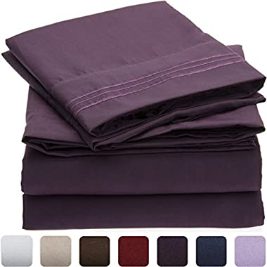 Mellanni Bed Sheet Set - HIGHEST QUALITY Brushed Microfiber 1800 Bedding - Wrinkle, Fade, Stain Resistant - Hypoallergenic - 4 Piece (Queen, Purple)