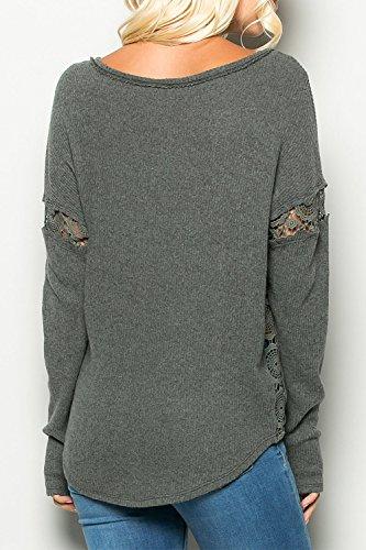 La Mujer De Manga Larga Con Cuello De Encaje Elegante Mosaico T Shirt Tops Blusas Grey