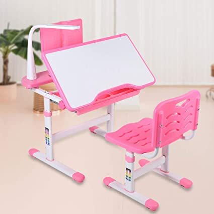 Awesome Desk Chair Pink Kids Desk And Chair Set Ergonomic Height Adjustable Childrens Desk And Chair Set Tiltable Desktop With Reading Stand And Eye Dailytribune Chair Design For Home Dailytribuneorg