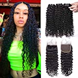 MSGEM Brazilian Virgin Hair Curly Wave Lace Closure With Bundles 100 Remy Curly Human Hair Extensions 3 Bundles With Closure 1B 14 with 16 18 20 inch