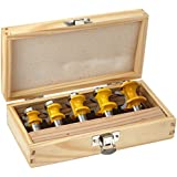 Yonico 13515 5 Bit Bullnose Router Bit Set with C3 Carbide Tipped 1/2-Inch Shank
