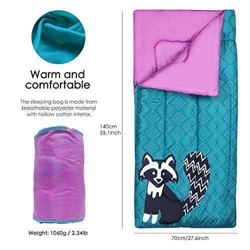 YoungRich Kids Sleeping Bag Youth Windproof Quilt Breathable Zipper Design Raccoon Pattern with Carrying Bag for Toddler Kids Children Indoor Outdoor Use Home Hiking Travel Camping 140 x 70cm by YoungRich (Image #1)