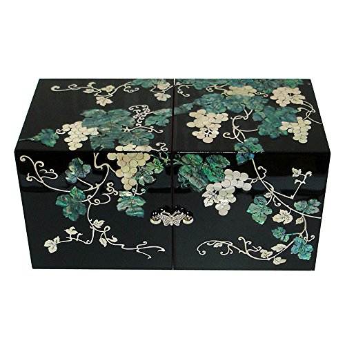 Treasures 8 Drawer Chest - Mother of Pearl Grape Black Secret Lacquer Wood Drawer Jewelry Trinket Keepsake Treasure Chest Box Case
