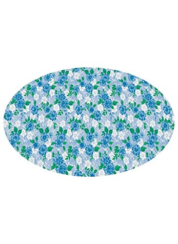 - Patterned Fitted Vinyl Tablecloths Blue Flora
