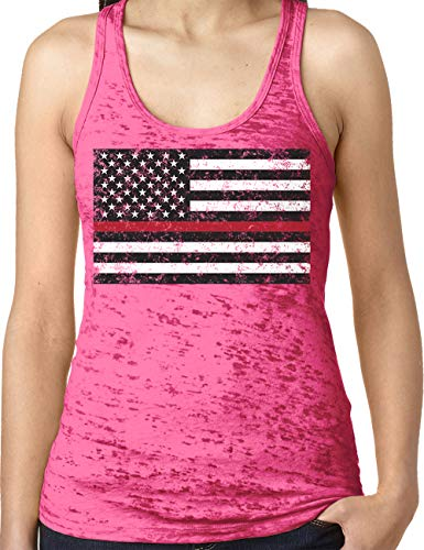 Amdesco Ladies Thin Red Line American Flag Burnout Racerback Tank Top, Shocking Pink Small