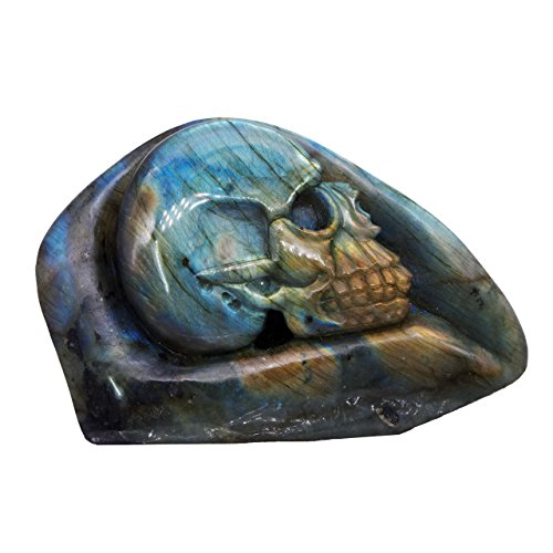 (NATURSTON Gemstone's Carving Gothic Skull Statue Natural Labradorite Mens Biker Halloween Sculpture Artwork)