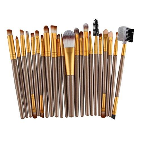 Make Up Kits Professional Natural Hair, Kingfansion 22Pcs/Set Lip Mascara Eyeliner Eyeshadow Brush Kit for Women under 10 Dollars (Gold)