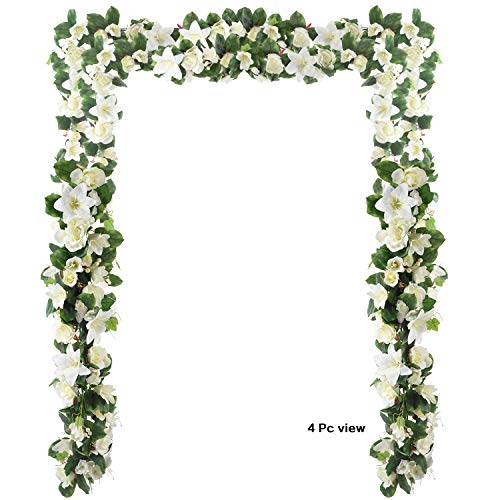 - 6 Feet Artificial Rose and Lily Garland, Artificial Silk Rose Lily Flower Ivy Vine Leaf Hanging Garland Wreath Garland for Home Wedding Wall Decor Lily  (White)