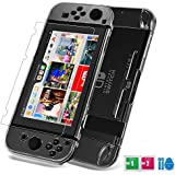 Nintendo Switch Anti-Scratch Case ,Crystal Clear Cover Case for Nintendo Switch Console and Joy-con,Tempered Glass Screen Protector, Set combination,Crystal Clear Easy to Install and Take off