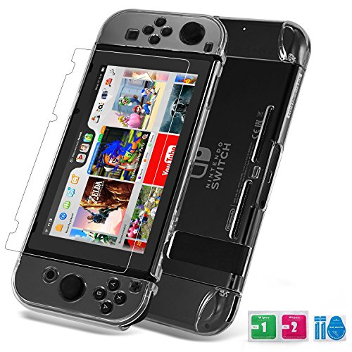 Case Cover Protector Faceplate (Nintendo Switch Case, Switch Cover, Nintendo Switch Tempered Glass Screen Protector, Set combination, Crystal Clear Easy to Install and Take off, Highly Flexibility hardness Material, Against Bumps)