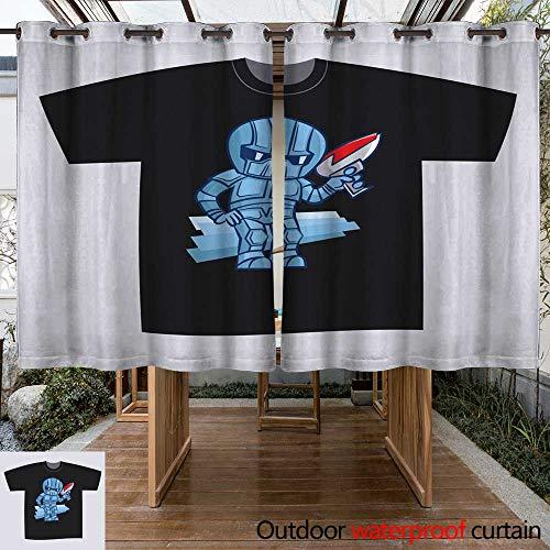 (RenteriaDecor Home Patio Outdoor Curtain T Shirt Black Print Design Superhero Robot with Blaster Pistol Sticker W84 x)