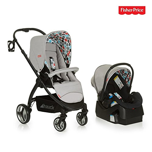 Hauck/Fisher Price Go-Guardian Oxford Travel Set/incl. bottel Holder, Prosafe Infant car seat and Base, Gumball Grey