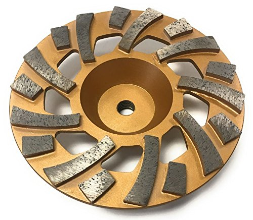 TheSafetyHouse 7'' Diamond Cup Wheel, Gold Fan Wheel 5/8'' - 11mm Threaded by TheSafetyHouse