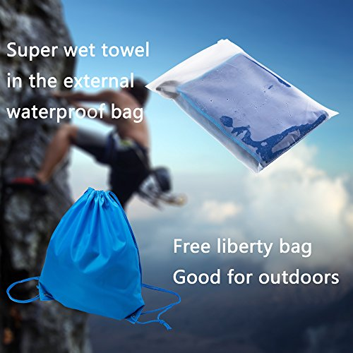 """Compra HealthyHome Microfiber Travel Towel. Super Absorbent and Quick Drying with""""Waterproof Bag and Liberty Bag"""". Perfect for Sport,Sweat,Workout,Gym,Yoga,Golf,Swim,Beach,Camping or Bath.100% Satisfaction. en Usame"""
