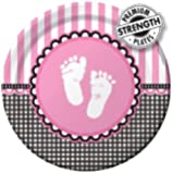 8-Count Round Paper Dinner Plates, Sweet Baby Feet Pink