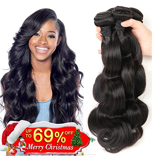 Bestsojoy Brazilian Virgin Hair Body Wave 3Bundles Remy Human Hair Weaves 100% Unprocessed Hair Extensions Natural Color 8A (12 14 16) (Extensions Hair Remy)