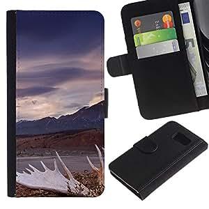 KingStore / Leather Etui en cuir / Samsung Galaxy S6 / Naturaleza Vía vintage