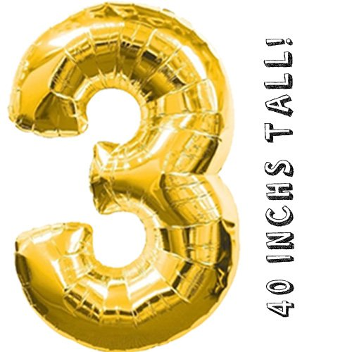 Giant 30th Gold Number Mylar Balloons For Birthday Anniversary