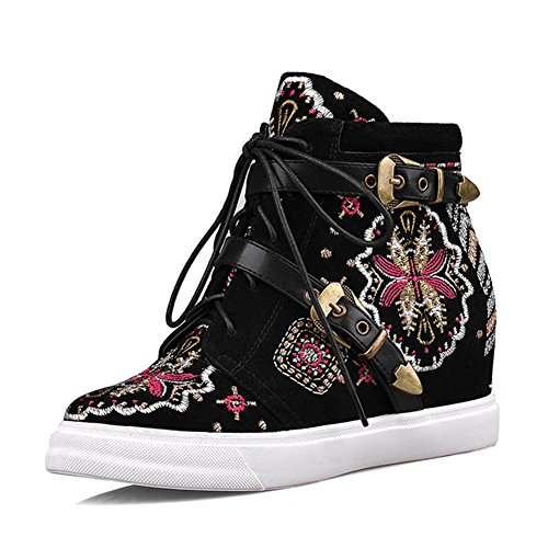 Femmes RoseG Compensées Lacets Baskets Coin Broderie Chaussures Cuir zxA6xd