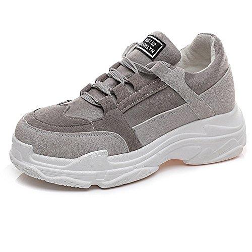 Scarpe Sportive Per Calzature Da Donna Per Donna, Allacciate Le Suole Spesse, Scarpe Da Ginnastica Sportive, Sneaker Comfort Grigio