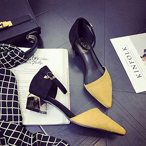 Comfortable Thick Yukun Yellow Women'S With Shoes Women'S Size High Heels Mouth Small Shallow heels Large Pointed Size High With Shoes EqHwA7R1q