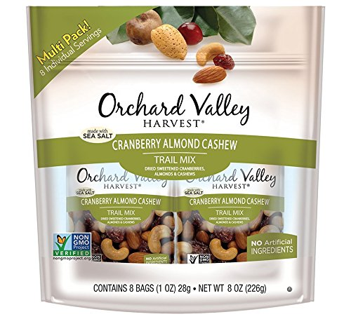 ORCHARD VALLEY HARVEST Cranberry Almond Cashew Trail Mix, Non-GMO, No Artificial Ingredients, 1 oz (Pack of 8) (Mix Trail Cranberry)