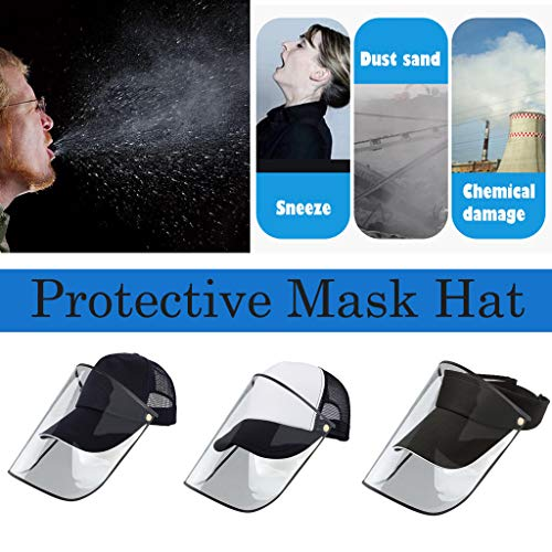 EKIMI Safety Face Shields Protective Hat - Breathable and Lightweight Comfortable Adjustable - Anti-Fog/Dust-Proof/Splash-Proof/Anti-Spitting Isolation Anti-Pollution