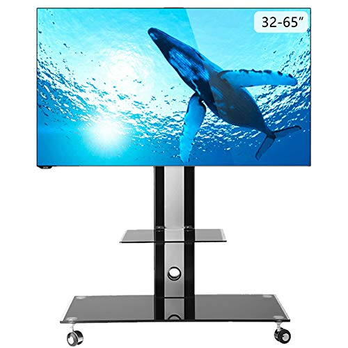 LCD TV Mobile Stand 32-65 Inch TV Universal Cart Video Conference Floor Cart Multimedia Teaching Shelf Swivel TV Stand Home Display Trolley