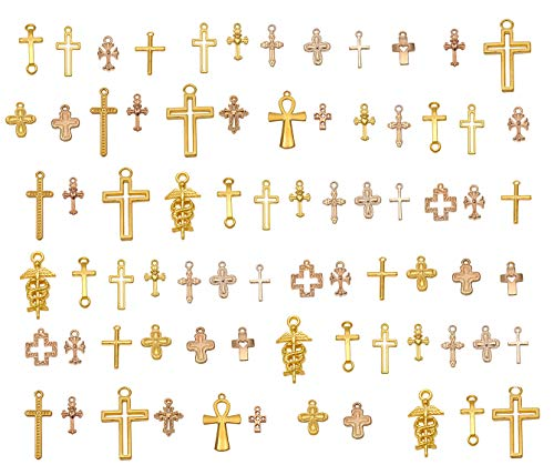 Yansanido 100 Gram Assorted Cross Gold DIY Antique Charms Pendant Mixed Charms Pendants Necklace Bracelet Wedding DIY Craft Making Accessory (100g Cross Gold)