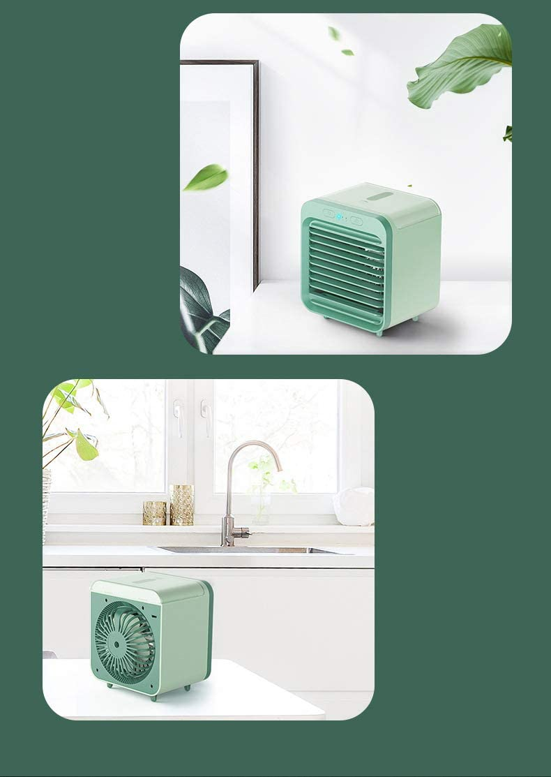Adayo 2020 rechargeable water-cooled air conditioner can be used outdoors with 7 Colors LED Lights Timer Handle (Green) Green