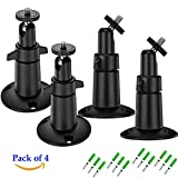 Mbangde (Pack of 4, Black) Security Camera Metal Wall/Ceiling Mount, Adjustable Indoor/Outdoor Mount for Arlo, Arlo Pro, CCTV Camera and Other Compatible Models