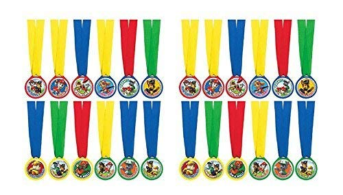 2 Packs of 12 Amscan Paw Patrol Mini Award Medals bundled by Maven Gifts