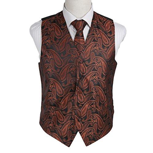 Black Micro Vest - Epoint EGD1B07A-2XL Brown Black Paisley Microfiber Mens Tuxedo Vest Neck Tie Set Classic for Evening