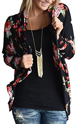 EachEver Women Casual Long Sleeve Floral Printed Open Front Cardigan Outwear Black L