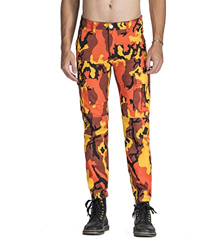 Idopy Men`s Street Style Camouflage Joggers Stretchy Biker Cargo Pants Orange 34 (Orange Mens Sweatpants Camo)