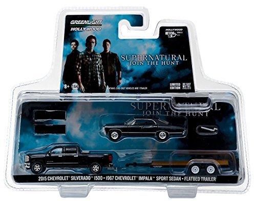 2005 Chevy Models - 2015 Chevrolet Silverado 1500 and 1967 Chevrolet Impala Sport Sedan on Flatbed Trailer