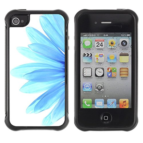 All-Round Hybrid Rubber Case Hard Cover Protective Accessory Compatible with Apple iPhone 4 & 4S - blue flower daisy petal white minimalist