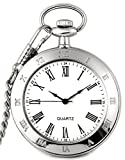 New Brand Mall Silver Stainless Steel Case White Dial Roman Numerals Antique Pocket Watch with Chain