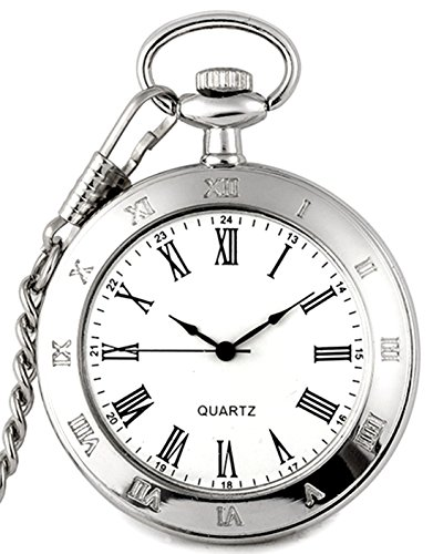 New Brand Mall Silver Stainless Steel Case White Dial Roman Numerals Antique Pocket Watch with - Roman Watch Pocket Numeral White