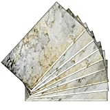 SkinnyTile 04404 Peel and Stick Natural Marble Shades Glass Wall Tile (48-Pack), 6'' x 3''
